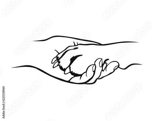 Foto Freundschaft - Pfote und Hand
