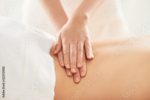 Tuinposter Ontspanning Crop hands of female therapist rubbing loin of female client during massage session in spa salon