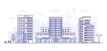 Cityscape With Hospital - Modern Thin Line Design Style Vector Illustration