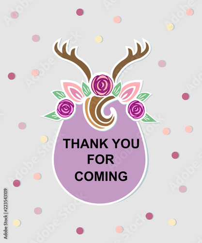 Template with Deer headband for party invitation, baby shower, thank