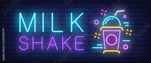 Fotografie, Obraz Milk shake neon sign