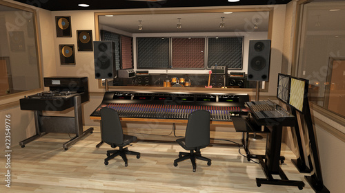 Valokuva  Music recording studio with sound mixer, instruments, speakers, and audio equipm