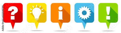 Photo Speechbubbles Question, Idea, Information, Work & Answer Color