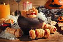 Creative Food Prepared For Halloween Party On Wooden Table