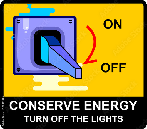 Photo  conserve energy, sign vector