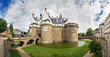 canvas print picture - Beautiful panoramic cityscape view of The Château des ducs de Bretagne (Castle of the Dukes of Brittany) a large castle located in the city of Nantes, France
