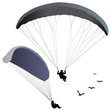 Paragliders Set Of Two Silhoue...