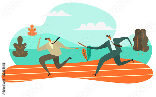 Businessman Passing Baton to His Colleague in Relay Race, Vector Illustration Te Poster Mural XXL