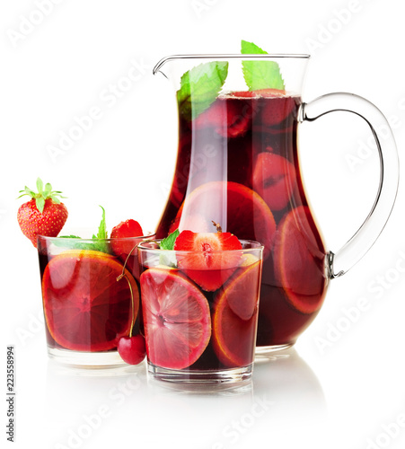 Foto op Canvas Cocktail Sangria jug and two glasses