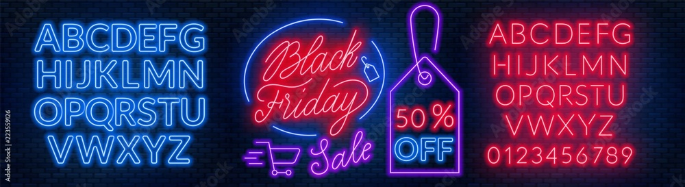 Fototapeta Black Friday neon lettering on brick wall background with the alphabet