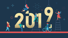 Happy New Year 2019 Poster With People Building Figures.