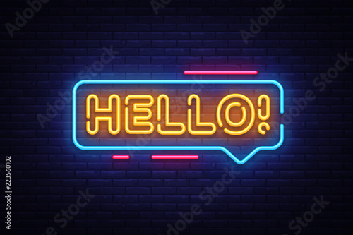 Hello Neon Text Vector Wallpaper Mural