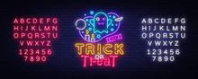 Halloween Neon Sign Vector. Tr...