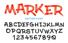 Vector Stylized Artistic Font Made Of Marker Strokes. Latin Alphabet From A To Z And Numbers From 0 To 9. Beautiful Realistic Brush Style.