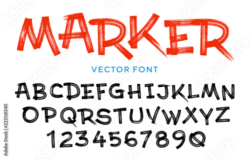 Fotomural Vector stylized artistic font made of marker strokes