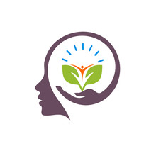 Think People With Tree Logo Vector