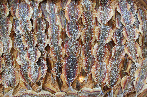 Valokuva  Yellow stripe scad, Dried fish in the market, thai food