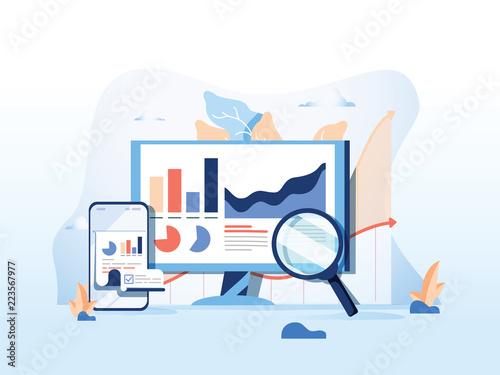 Papel de parede SEO reporting, data monitoring, web traffic analytics, Big data flat vector illustration on blue background