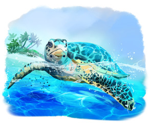 Sea turtle floats watercolo...