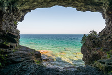 Landscape View From A Cave At Bruce Peninsula Shoreline At Cyprus Lake National Park Coast Line
