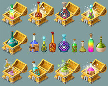 Cartoon Isometric Chests With ...