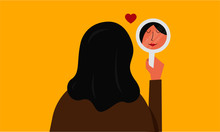 Vector Illustration Of A Beautiful Woman Staring At Her Reflection In A Mirror. Mirror Shows Woman's Lovely Face. Self Love/Confidence Concept