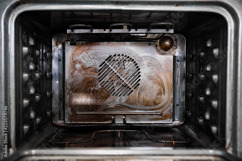 Grease and grime in the interior of a modern convection oven