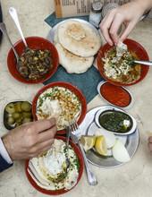 Hummus Plates At The Carmel Market, Tel Aviv, Israel.