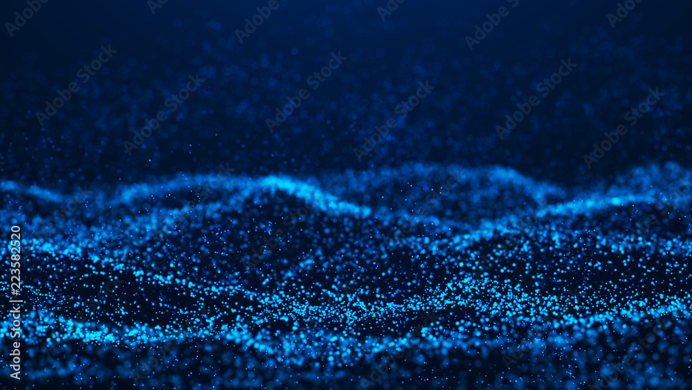 Fototapety, obrazy: Wave of particles. Futuristic blue dots background with a dynamic wave. Big data. 3d rendering.
