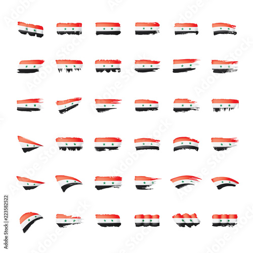 Fototapeta Syria flag, vector illustration on a white background. obraz na płótnie