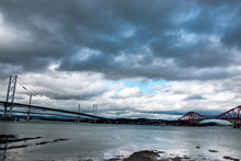 Panoramic View Of Firth Of Forth Bridges (Queensferry Crossing, Forth Road Bridge And Forth Bridge)