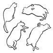 Funny hand drawn fat cats lying set