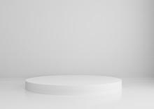 White Podium On White Background For Design, 3d Render