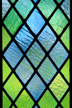 Diagonally Patterned Stained Translucent  Glass Window Pane Detail.
