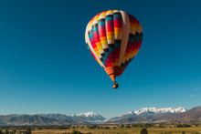 Hot Air Balloon Ride Over The Wasatch Mountains In Utah USA