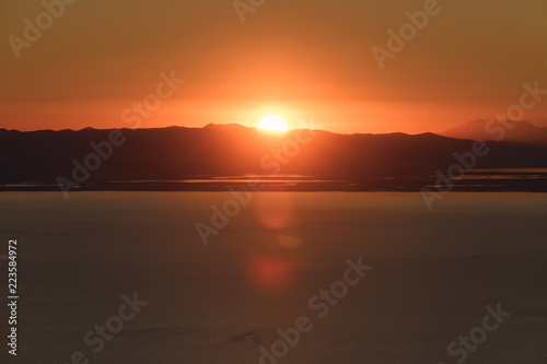 Mountaintop view of the sunset over the Great Salt Lake in Utah USA