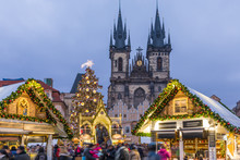 Prague Christmas Market On The Night In Old Town Square With Blurred People On The Move. Prague, Czech Republic.
