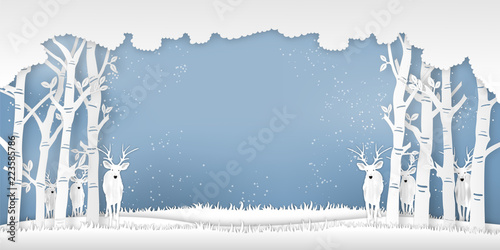Fotografie, Obraz  Deers in forest in the winter season with trees and snow  as Paper art and digital craft style concept