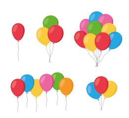 Baloni u ravnom stilu crtića izolirani na bijeloj pozadini. Hrpa balona - vektor dionica.