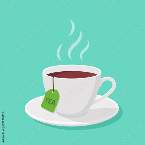 Valokuva Mug With tea and steam in a flat style - vector clipart.
