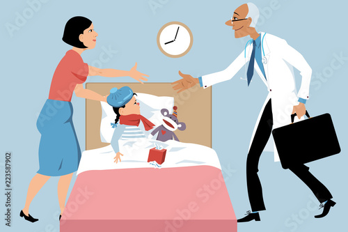 Photo Doctor making a house call to a sick child, a mother greeting him, EPS 8 vector