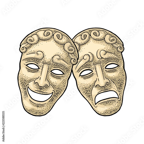 Fotomural Comedy and tragedy theater masks