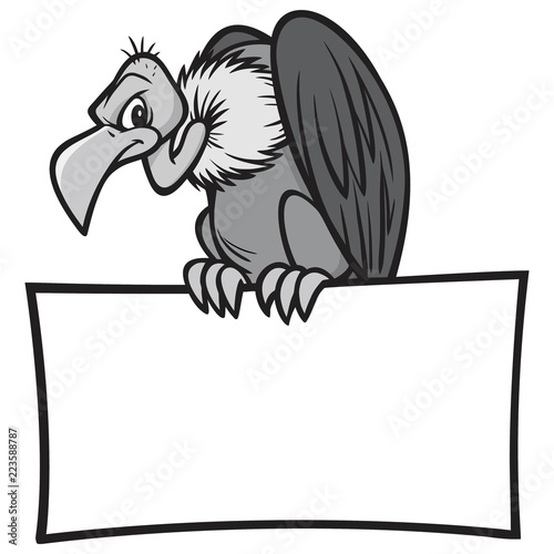 Black and White Vulture with Sign - A vector cartoon illustration of a Vulture sitting on a blank Sign Canvas Print