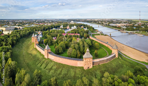 Aerial view of kremlin in Veliky Novgord, Russia