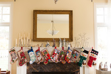 Christmas Stockings On A Mantle