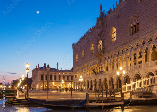 Doge's Palace at San Marco square at night in Venice, Italy