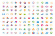 Logo mega collections abstract geometric business icon set vector eps 10