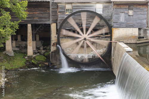 Fotografie, Obraz  Old Grist Mill with Water Wheel and Dam
