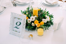 Elegant Table Setting In Yellow And Green Colors