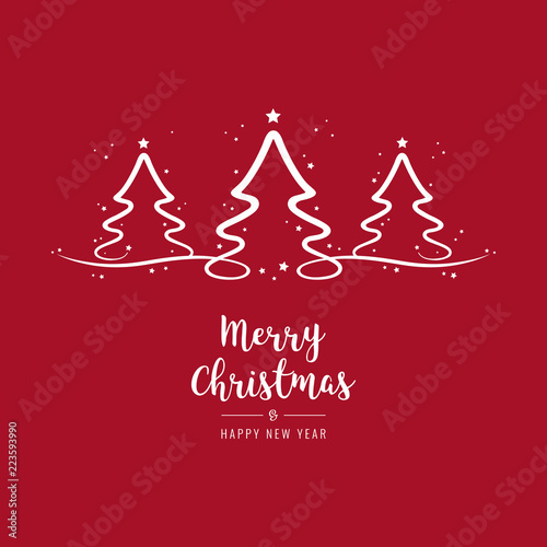 Photo  christmas trees lettering greetings red background